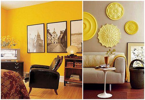 Желтый цвет в декоре, желтый интерьер, дизайн интерьера фото