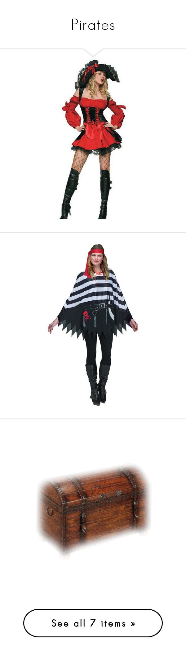 """""""Pirates"""" by mysfytdesigns ❤ liked on Polyvore featuring costumes, red halloween costumes, pirate costume, red costumes, cosplay halloween costumes, red pirate costume, halloween costumes, style poncho, pirate halloween costumes and poncho costume"""