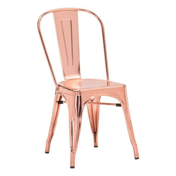 Oooo, shiny! The industrial style steel chair gets kicked up a notch with a gorgeous rose gold finish. It's like jewelry for your dining table! - Steel Frame -