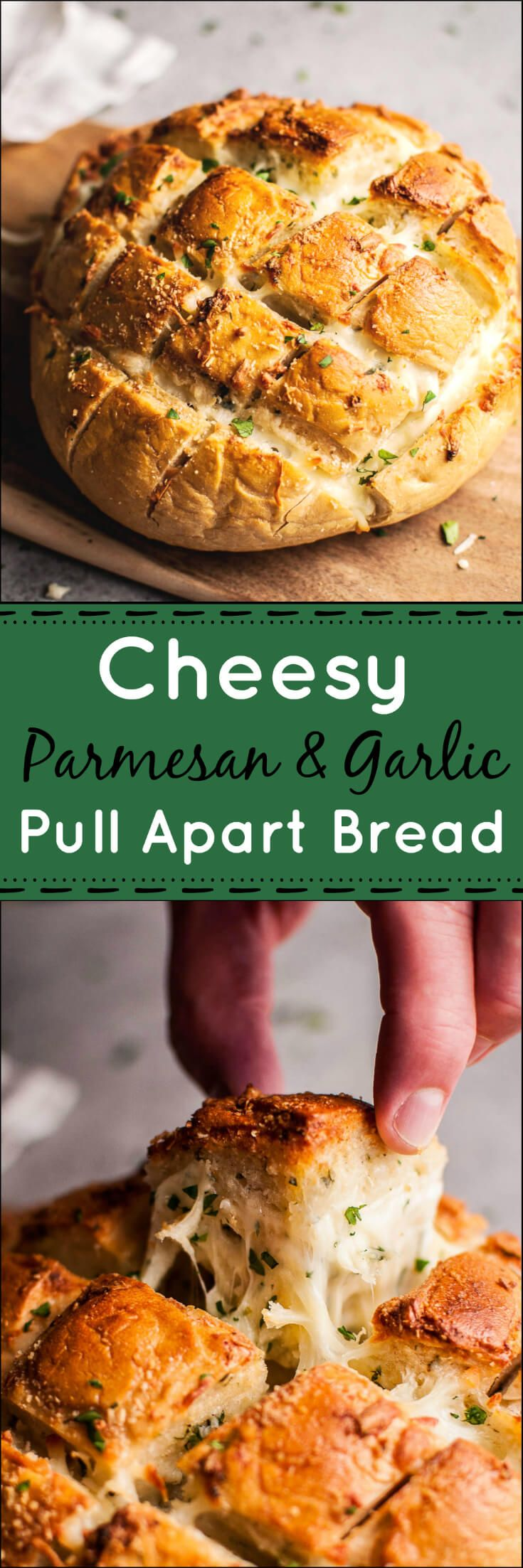 Parmesan and garlic butter cheesy pull apart bread is a deliciously comforting…