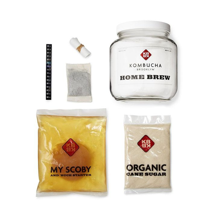 This set contains everything you need to start brewing kombucha, a naturally carbonated, fermented tea.