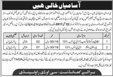 Pak Army Jobs in COD Rawalpindi for Sanitary Workers & USM