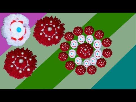 How to make Easy Woolen Flowers step by step | Handmade woolen thread/yarn flower making idea - diy - YouTube