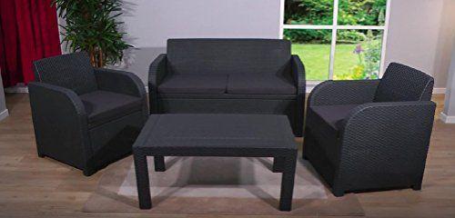 allibert oklahoma rattan garden furniture 4 piece set in graphite dark grey with graphite dark grey cushions rattan furniture sets pinterest