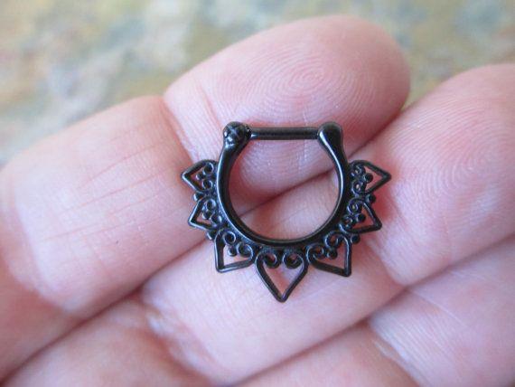 Romantic Vintage Black Titanium IP Surgical Steel Septum Ring 16G (1.2mm)