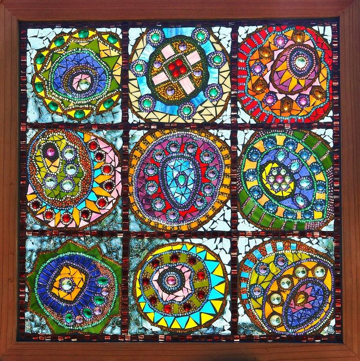 Kathleen Dalrymple - Glass Artist: Drunk Circles - glass on glass mosaic stained glass window