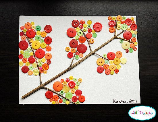 We love crafts with buttons, don't you? Create a lovely Fall button branch with your little ones by having them help you sort spare buttons by color. Older kiddos can also help glue and frame your masterpiece too!  Source: Meet the Dubiens