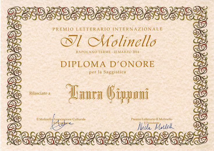 """Premio letterario """"Il Molinello"""" Diploma d'onore per la saggistica"""