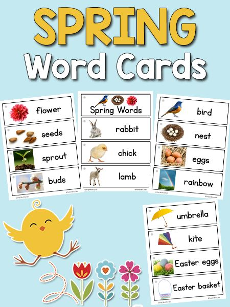 Spring Picture-Word Cards: free printable