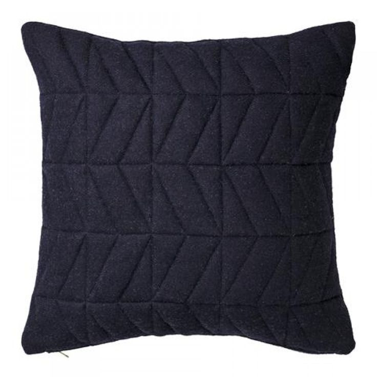 BLOOMINGVILLE Quilted Wool Cushion Navy with Gold Zipper