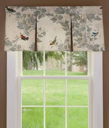 Aviary Lined Pleated Valance Kitchen Window With Light Filtering Shade Underneath In A Linen Or Natural