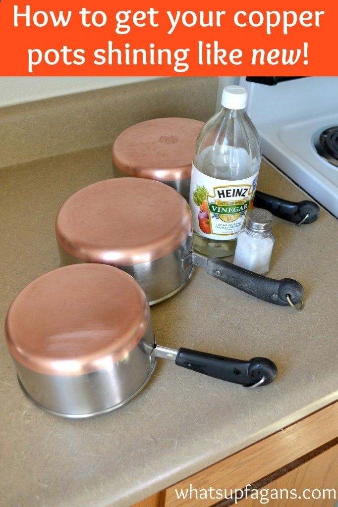 Clean copper pots with vinegar and salt to make them shiny and new! Great tip!