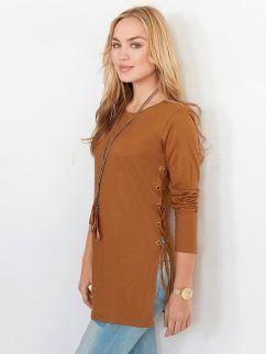 Camiseta de algodón mujer manga larga con aberturas y ojales