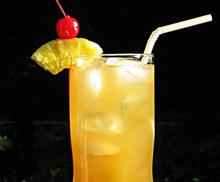 Jamaican Iced Tea (1 oz. Myers's Dark Rum .5 oz. Malibu Coconut Rum .5 oz. Vodka .5 oz. Gin .5 oz Triple Sec 3 oz. Pineapple Juice 2 oz. Sweet & Sour Mix Pineapple Wedge and/or Cherry for garnish)