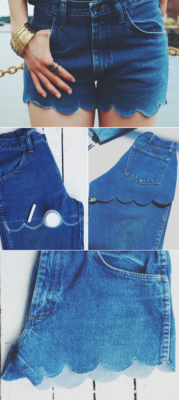 Opinando Moda: 3 maneiras de transformar calça jeans em Short (Jeans cut into Scallop-edged denim shorts.)