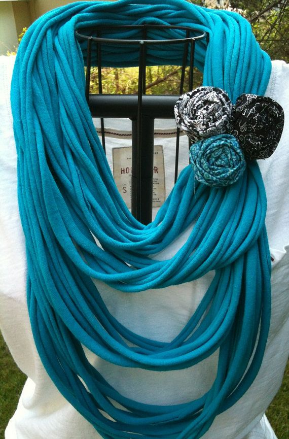 Upcycled TURQUOISE tshirt infinity scarf with a black rolled rosette pin