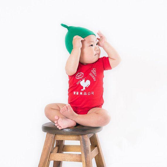 Sriracha Onesie Funny Baby Gift Unique Onesiet by BuzzBearTees