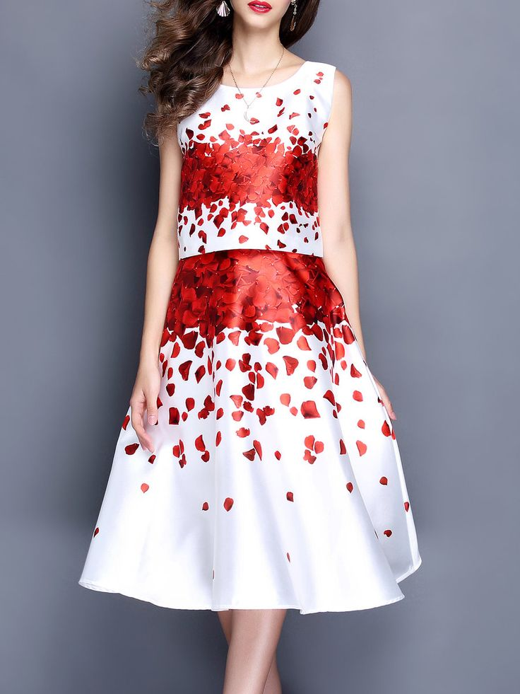 #AdoreWe #StyleWe Dresses - MOOERKERR White Two Piece Floral Casual Floral-print Midi Dress - AdoreWe.net