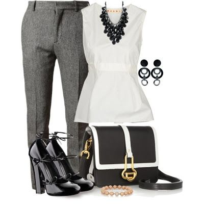 love this outfit, but think I'd go with black pants if it were me wearing this cute, crisp outfit