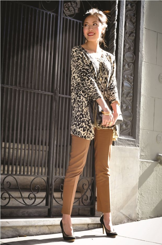 leopard print top..camel colored pants