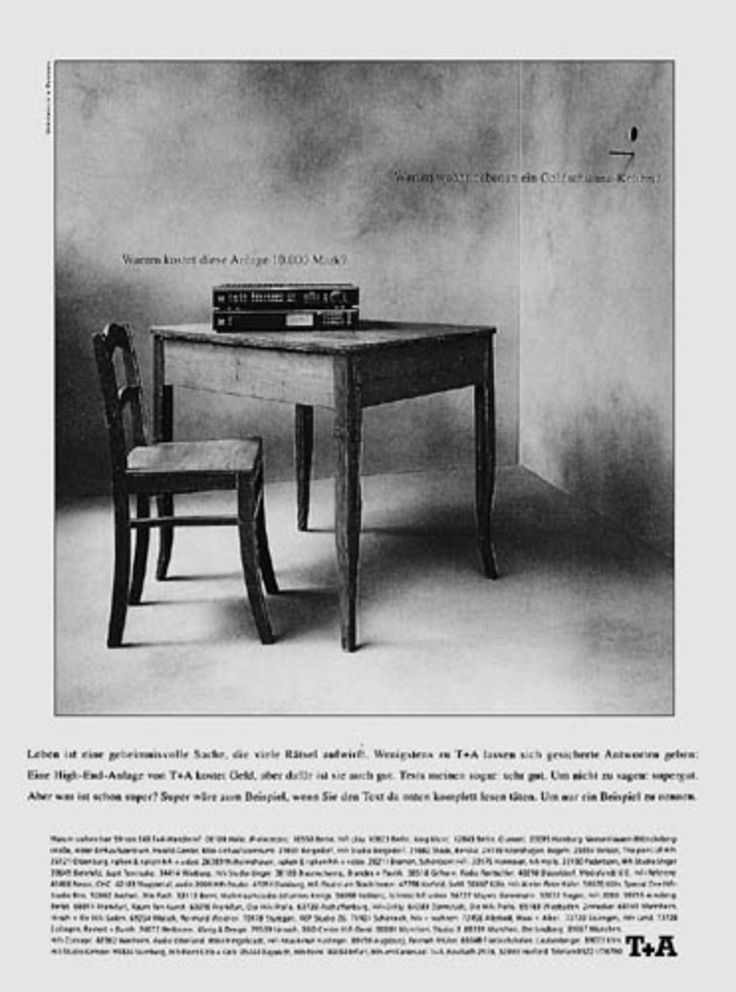 Read more: https://www.luerzersarchive.com/en/magazine/print-detail/t-a-1808.html T+A Copy inserts: Why does this stereo cost DM 10.000? Copy insert right: Why does a golden-tailed hummingbird live next door? Copy expert: Life is a mystery but at least T+A have some answers. A T+A high-end system may be pricey but it`s optimal. Tags: Maksimovic & Partner, Saarbrucken,Michael Ehrhart,Ono Mothwurf,Ivica Maksimovic,T+A,Martin Pross