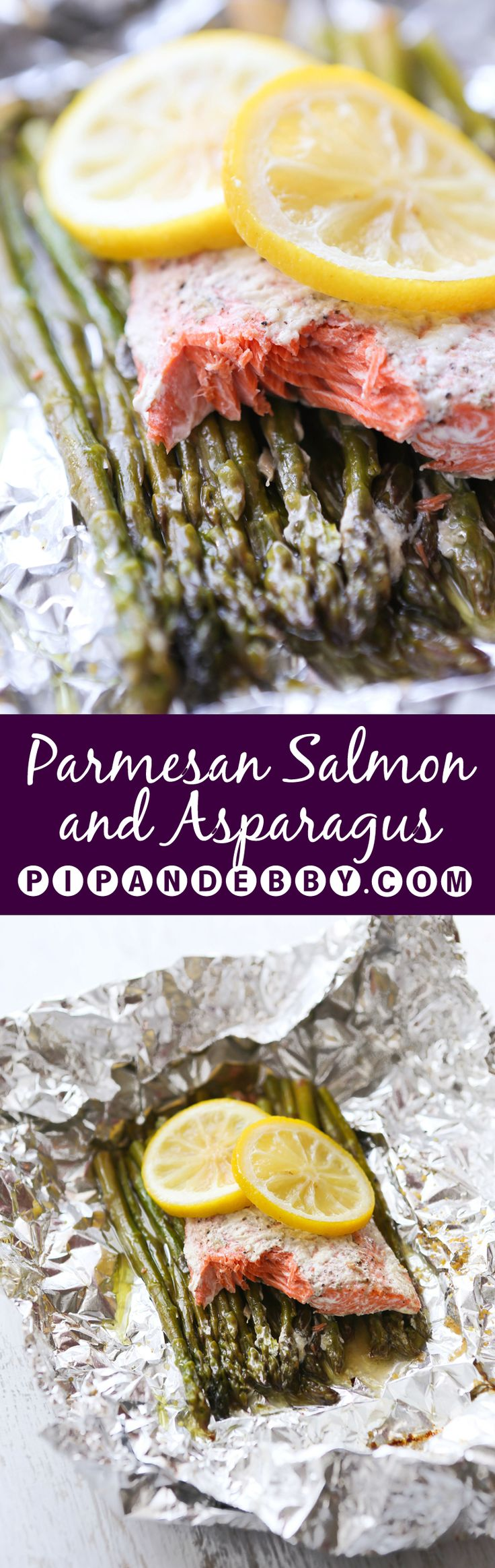 Parmesan Salmon and Asparagus in Foil | Dinner does not get any easier than this! Throw a slab of salmon on top of some asparagus and wrap it in foil!