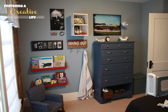 Fostering a Creative Mind Blog: Vintage Car room Boys Room, I like the little shelves for books, and the crate to hold the cars
