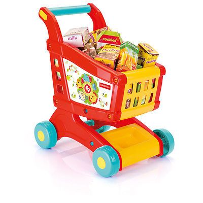 Fisher Price Kids Shopping Trolley Cart Role Play Set Toy Plastic Fruit Food Fun