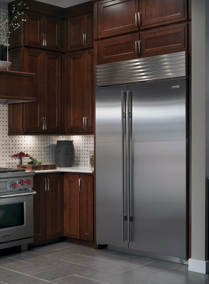 sub zero bi48sidsph 48 built in side by side refrigerator with wood panels spill proof glass on kitchen remodel sub zero id=90048