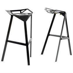 Wholesale Interiors BS-363-Black Kaysa Black Aluminum Modern Bar Stool - Set of 2