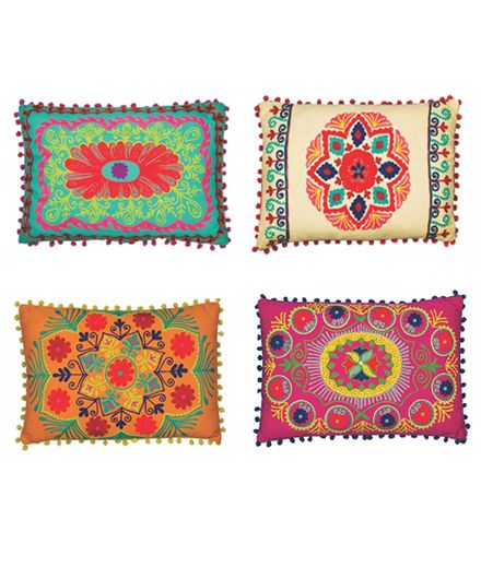 Good Karma Living Indian Embroidered Rectangular Pillows