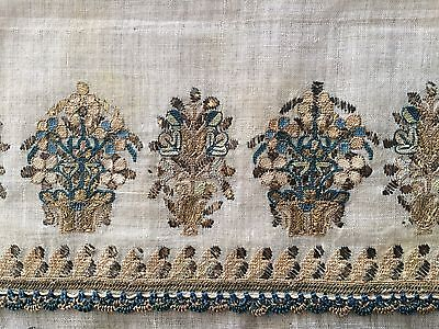 LARGE ANTIQUE OTTOMAN-TURKISH  HAND EMBROIDERY ON FINE LINEN 'YAĞLIK'