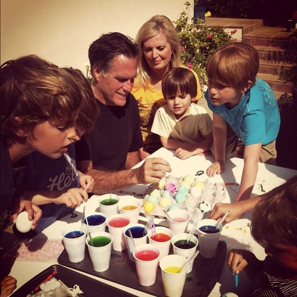 Mitt and I had a lot of fun dyeing Easter eggs with the grandkids this weekend.: Mitt Romney, Fun Dyeing, Romney Family, Easter Eggs, People Romney