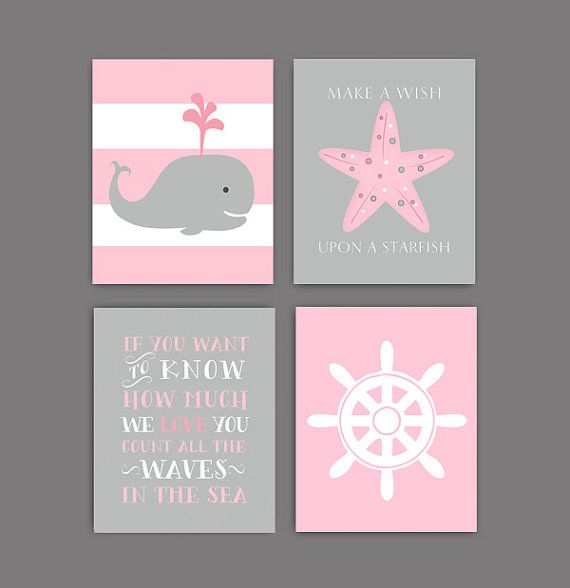 Baby girl nursery decor,  Baby Girl Nautical decor, pink nautical bedding art, pink whale, if you want to know how much we love you, set of 4