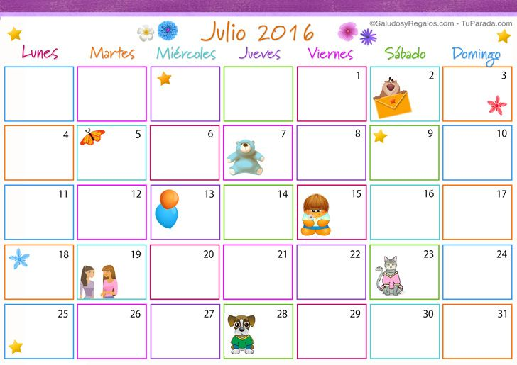 Calendario De Julio 2016 Colombia