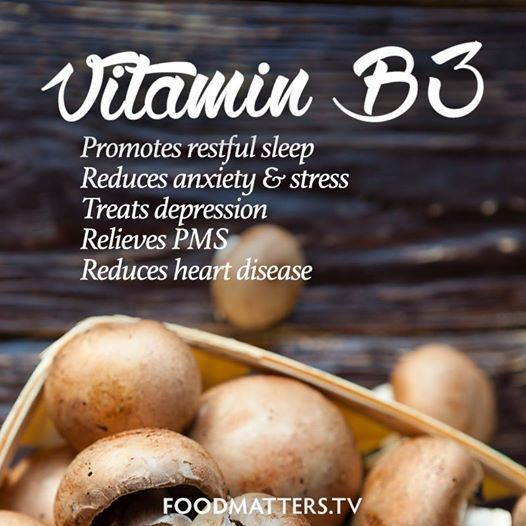 Niacin (vitamin B3) has the unique ability to greatly reduce anxiety and depression, among it's other amazing benefits! It's one of the main topics discussed in Food Matters. Have you experienced any of these from this vitamin? https://www.facebook.com/foodmatters