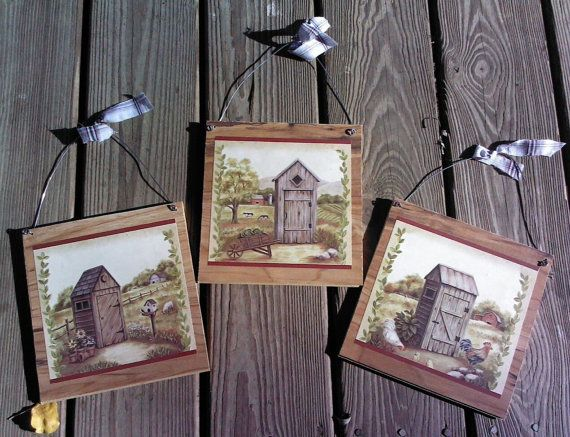 3 Outhouse Plaques Bathroom Wall Hanging Pictures Outhouses Home Decor