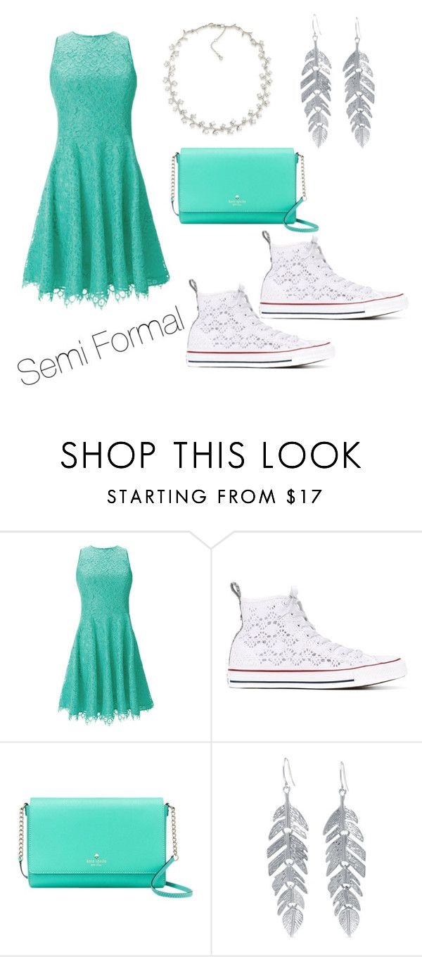 """""""Semi Formal"""" by happykoala ❤ liked on Polyvore featuring Shoshanna, Converse, Kate Spade, Belk Silverworks and Carolee"""