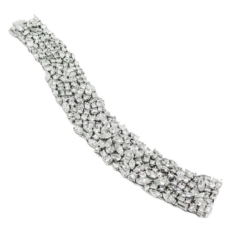 Fancy Shape Diamond Platinum Mesh Bracelet | From a unique collection of vintage modern bracelets at https://www.1stdibs.com/jewelry/bracelets/modern-bracelets/
