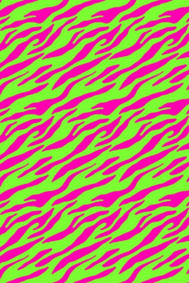 Group Of Hot Pink Lime Green Zebra Wallpaper