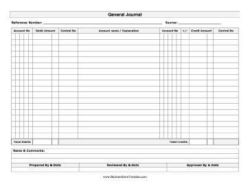 A printable general journal with room for account number, debit amount, control number, notes, and other data. Free to download and print