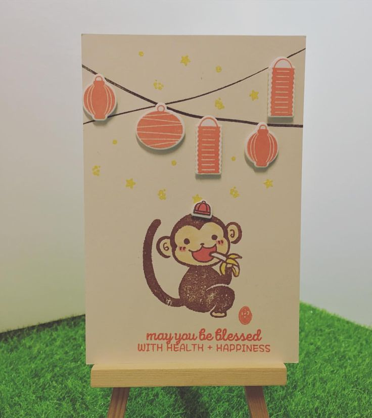 Greeting card for the year of the Monkey, using stamps from Japan and the lantern stamp is from the US. They are super match~ #kodomonokao #賀年卡 #yearofmonkey2016 #cardmaking #averyelle  handmade by Jodie Hui~Feb 2016~