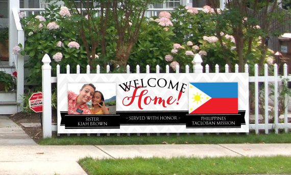 I love that this one includes a picture! Giant LDS Missionary Farewell or Welcome Home Banner for Couples, Sisters & Elders with Picture and Flag