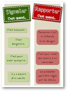 French tattle or tell sign - Signaler ou rapporter?  Belle affiche serviable pour la salle de classe!