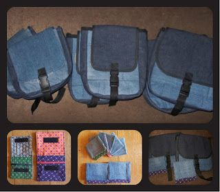 Seven Denim Messenger Bags and Money Purses I made as Christmas presents.