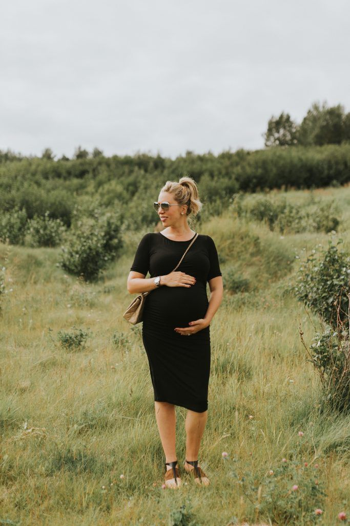 Black Maternity Dress - pearls on a string