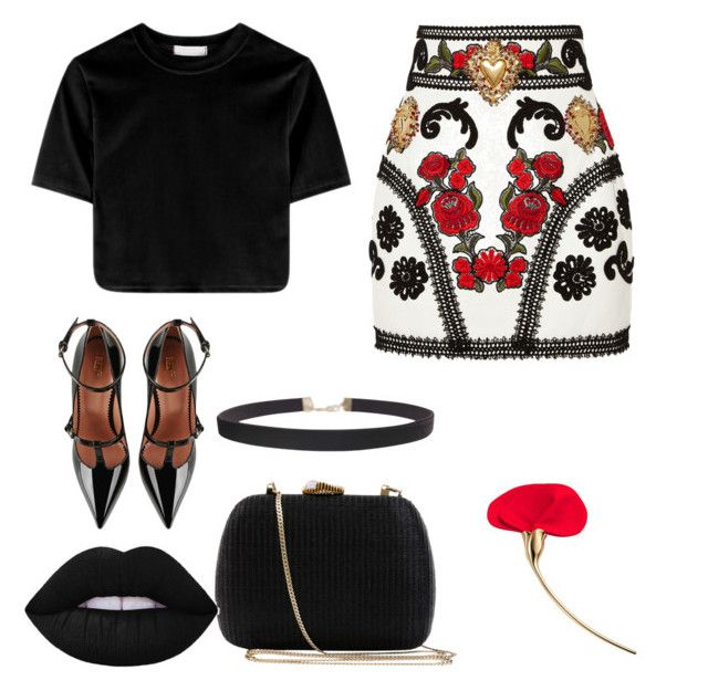"""Dolce&Gabbana skirt"" by fpantopikou on Polyvore featuring Dolce&Gabbana, RED Valentino, Humble Chic and Serpui"