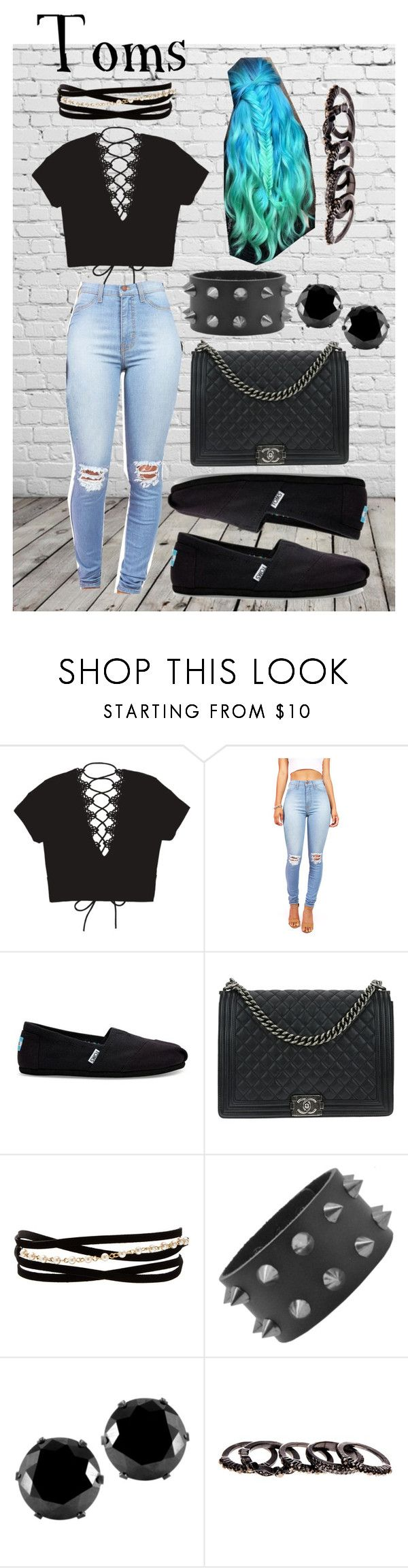 """Toms"" by j3029208g on Polyvore featuring TOMS, Chanel, Kenneth Jay Lane, West Coast Jewelry and Free Press"