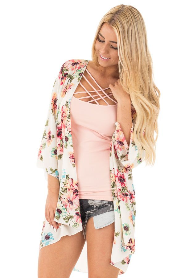 Lime Lush Boutique - Ivory and Blush Floral Print Kimono, $38.99 (https://www.limelush.com/ivory-and-blush-floral-print-kimono/)