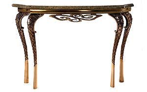 Bronze Console Table by Taylor Llorene | A unique and differentiated cast bronze console table available in bronze or aluminium, stone and steel | http://modernconsoletables.net